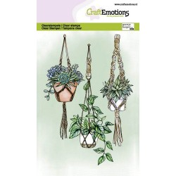 (1348)CraftEmotions clearstamps A6 - Macrame plant pendants
