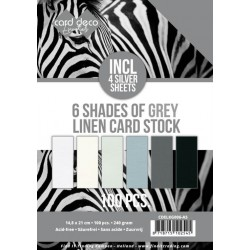 (CDELKG006-A5)6 Shades of Grey Linen Card Stock - A5