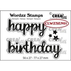 (CLWZSEN01)Crealies Clearstamp Wordzz Happy Birthday 77x27mm