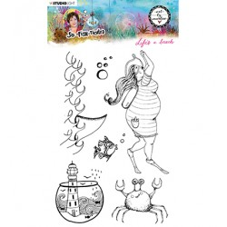 (ABM-SFT-STAMP11)Studio light ABM Clear Stamp Life's a beach So-Fish-Ticated nr.11