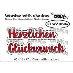 (CLWZDE03)Crealies Wordzz with Shadow Herzlichen Glückwunsch