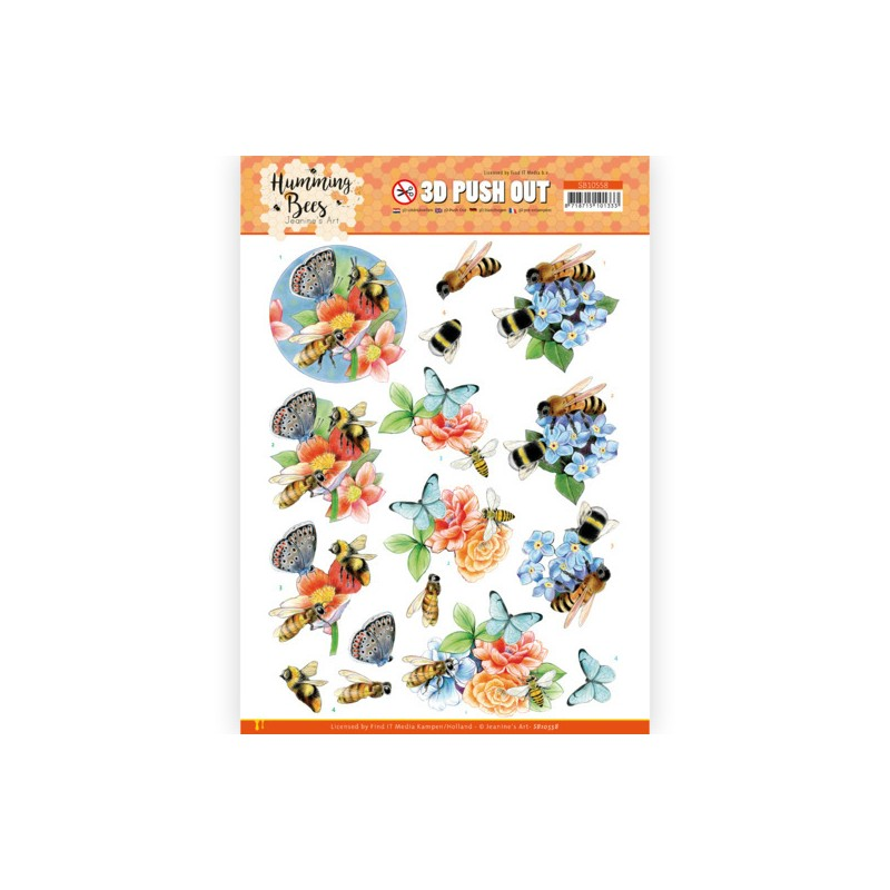 (SB10558)3D Push Out - Jeanine's Art - Humming Bees -Bees and Bumblebee