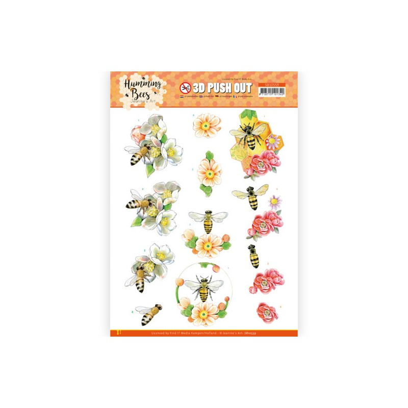 (SB10559)3D Push Out - Jeanine's Art - Humming Bees - Bee Queen