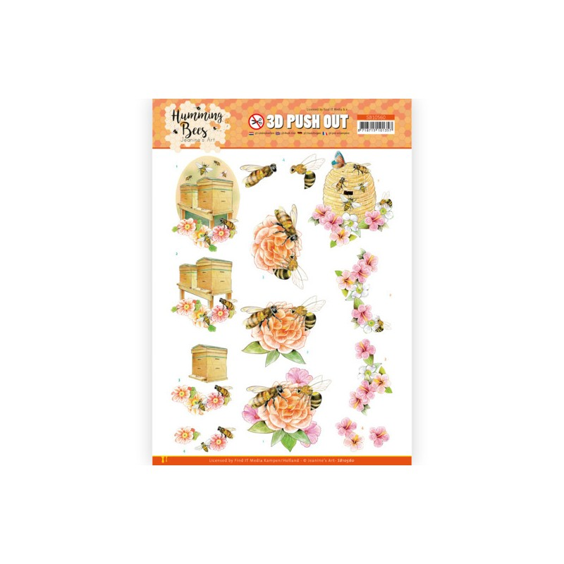 (SB10560)3D Push Out - Jeanine's Art - Humming Bees - Beehive