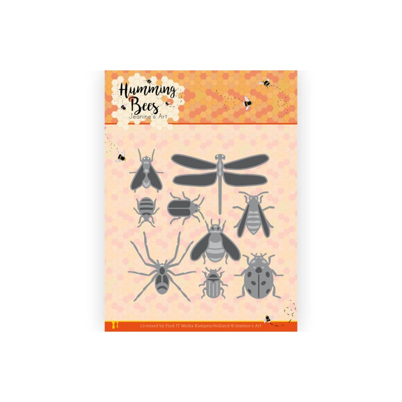 (JAD10127)Dies - Jeanine's Art - Humming Bees - All Kinds of Insects