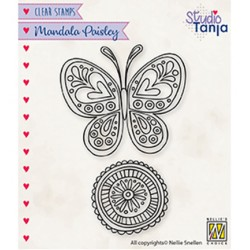 (CSMAN011)Nellie`s Choice Clearstamp - Mandala's Paisley butterfly