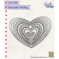 (CSMAN012)Nellie`s Choice Clearstamp - Mandala's Paisley heart