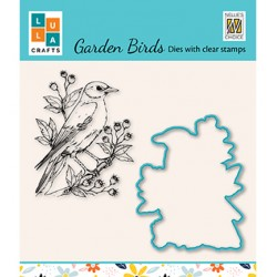 (HDCS009)Snellen Design Clearstamp +dies  - Garden bird-1