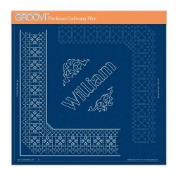 (GRO-GG-41731-24)Groovi Plate A4 PIERCING GRID PRINCE WILLIAM LACE DUET
