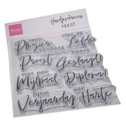 (CS1086)Clear stamp Handgeschreven - Feest