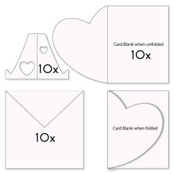 (ACC-CA-31151-XX)FOLDED HEART CARD BLANKS, ENVELOPES & STANDS