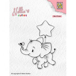 (NCCS011)Nellie`s Choice Clearstamp - Christmas Elephant with star