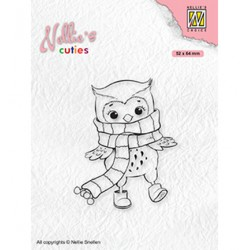 (NCCS013)Nellie`s Choice Clearstamp - Christmas Owl with winter-scarf