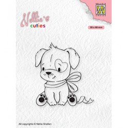 (NCCS015)Nellie`s Choice Clearstamp - Christmas Dog with Christmas-bow