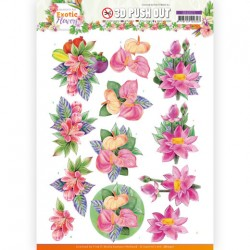 (SB10571)3D Push Out - Jeanine's Art - Exotic Flowers - Pink Flowers