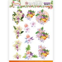 (SB10572)3D Push Out - Jeanine's Art - Exotic Flowers - Purple Flowers