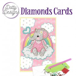 (DDDC1010)Dotty Designs Diamonds Cards - Pink Baby Elephant