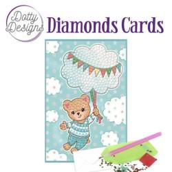 (DDDC1011)Dotty Designs Diamonds Cards - Blue Baby Bear