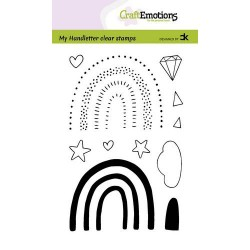 (2211)CraftEmotions clearstamps A6 - handletter - Rainbow 3