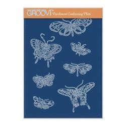 (GRO-AN-41748-04)Groovi Plate A5 CHERRY'S BUTTERFLIES & MOTHS A5 GROOVI PLATE - SET 1