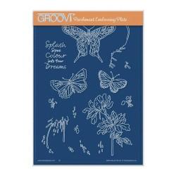 (GRO-AN-41744-04)Groovi Plate A5 CHERRY'S SPLASH SOME COLOUR MONTAGE ELEMENTS A5