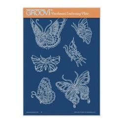(GRO-AN-41749-04)Groovi Plate A5 CHERRY'S BUTTERFLIES & MOTHS A5 GROOVI PLATE - SET 2
