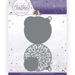 (PM10208)Dies - Precious Marieke - The Best Christmas Ever - Christmas Bauble Shape Card