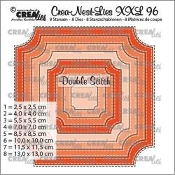 (CNLXXL96)Crealies Crea-Nest-Lies XXL Ticket square with double stitch (8x)