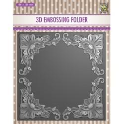 (EF3D028)Nellie's Choice Embossing folder Exotic flower frame