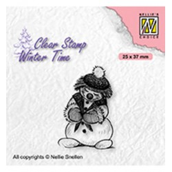 (WT005)Nellie's Choice Clear Stamp Winter Time Shy snowman