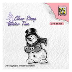 (WT006)Nellie's Choice Clear Stamp Winter Time Snowman with top hat