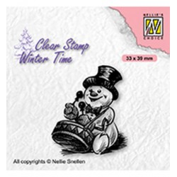 (WT007)Nellie's Choice Clear Stamp Winter Time Snowman with drum