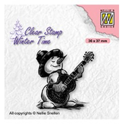 (WT008)Nellie's Choice Clear Stamp Winter Time Snowman with guitar