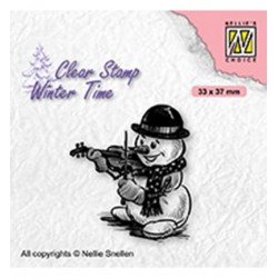(WT009)Nellie's Choice Clear Stamp Winter Time Snowman with violin