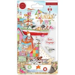 (CCSTMP064)Craft Consortium Sandy Paws Bon Voyage Clear Stamps