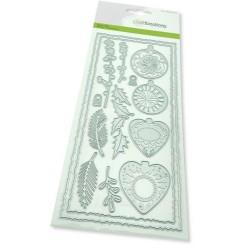 (115633/1201)CraftEmotions Die - Slimline deckle - Christmas baubles Card 27,5x11cm Die 21x9,8cm