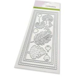 (115633/1203)CraftEmotions Die - Slimline scalop - Xmas floristics Card 27,5x11cm Die 21x9,8cm