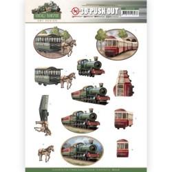 (SB10576)3D Push Out - Amy Design - Vintage Transport - Train