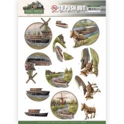 (SB10577)3D Push Out - Amy Design - Vintage Transport - Boat