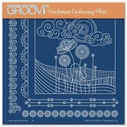 (GRO-FL-41636-03)Groovi Plate A5 TINA'S FIELDS & FLOWERS DOODLE LANDSCAPE