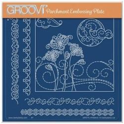(GRO-FL-41638-03)Groovi Plate A5 TINA'S FLOWERS IN A BREEZE DOODLE LANDSCAPE