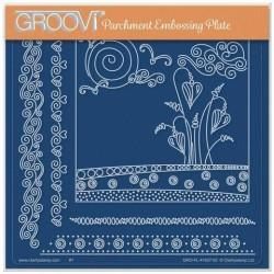 (GRO-FL-41637-03)Groovi Plate A5 TINA'S FLOWERS IN SPRING DOODLE LANDSCAPE