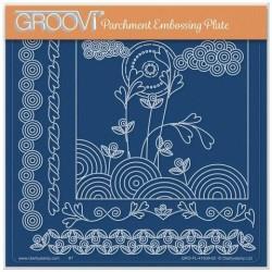 (GRO-FL-41639-03)Groovi Plate A5 TINA'S FLOWERS IN SUNRISE FLOWERS LANDSCAPE