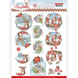 (SB10579)3D Push Out - Yvonne Creations - Wintry Christmas - Christmas Deer