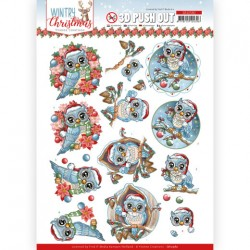 (SB10580)3D Push Out - Yvonne Creations - Wintry Christmas - Christmas Owls