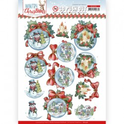 (SB10581)3D Push Out - Yvonne Creations - Wintry Christmas - Christmas Baubles