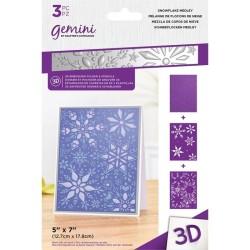 (GEM-EF5-3D-SNME)Gemini Snowflake Medley 3D Embossing Folder & Stencil