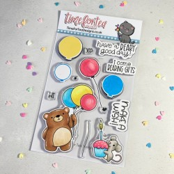 (T4T/717/Bir/Cle)Time For Tea Birthday Bear Clear Stamps