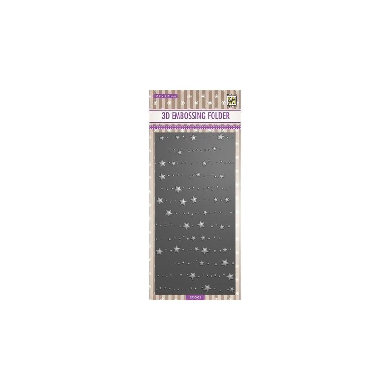 (EF3D033)Nellie's Choice Embossing folder Slimline size, Stars & dots