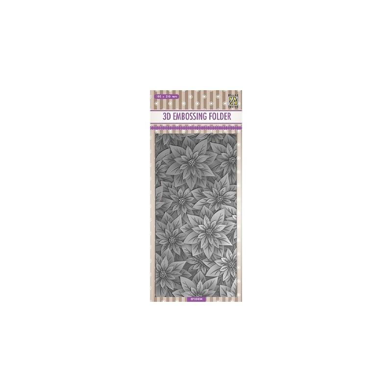 (EF3D034)Nellie's Choice Embossing folder Slimline size, Poinsettia